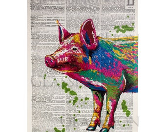 Colorful Pig on a Vintage Dictionary Page