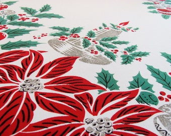 Vintage Tablecloth Christmas Holiday 58 x 78 Inches Ornaments Red Poinsettia Green Holly Candles Retro Holiday Decor Fits Table For 4-6