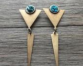 Turquoise Triangle Earrings || Geometric Earrings || Turquoise & Brass