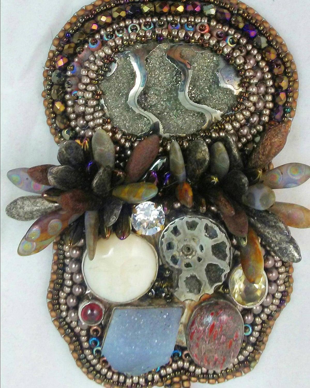 California nights bead embroidery pendant by uidzne on etsy