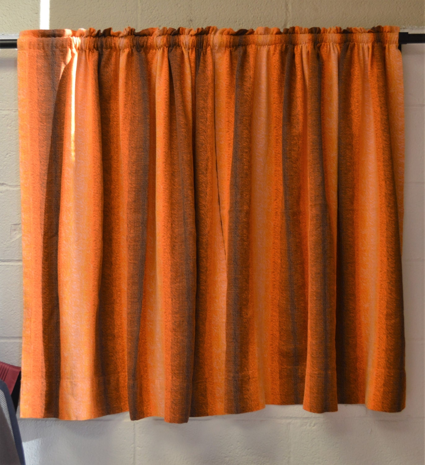 vintage curtain panels 1950s window curtains orange and brown