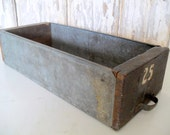 Vintage Wood and Metal Drawer, Small Rustic Drawer, Shabby Wood Box