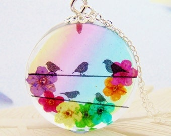 Bird Necklace, Birds on a Wire Necklace, Bird Pendant, Bird Jewelry, Gift for Her, Real Flower Necklace