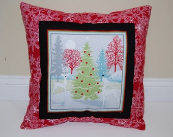 Christmas Pillow, Holiday Decor, Trees, Snowflake, Accent Pillow