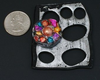 Ancient Organically Shaped Metallic Poly Clay Pendant - with eggshell jeweltones mosaic design