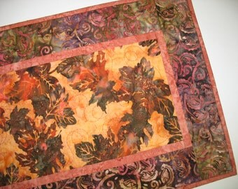 Batik Table Runner, Autumn, Fall, Wall Hanging, quilted
