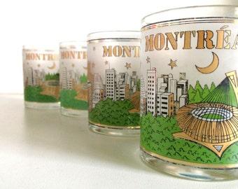 Midcentury Montreal Gold & Green Rocks Glasses