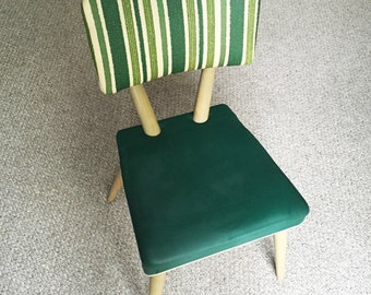 Vintage Mid Century Modern Green Vinyl with Rivets Chair 1950s