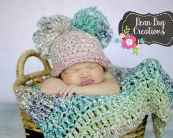 Double Pom Pom hat / homespun pom pom / newborn photo shoot / infant photoshoot / photography prop / crochet hat / newborn hat / toddler hat