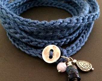 Crochet wrap charm bracelet / necklace in indigo, bohemian jewelry, crochet jewelry, cuff bracelet, fall fashion, cotton bracelet