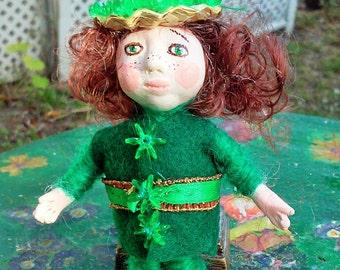 Irish Elf, St. Patrick's Day fairy doll.