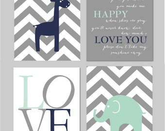 "Mint Nursery Navy and Mint Nursery Mint and Grey Nursery You Are My Sunshine Elephant Nursery Set of four 8""x10"" prints"