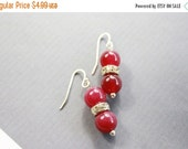 Christmas in July Ruby Gemstone and Rhinestone Sterling Silver 925 French Wire Hook Earrings Prom Bridal