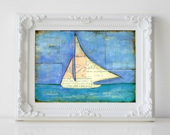 "Sailboat Painting, 5x7"" Original Mixed Media, Original Art, Nautical painting, Sailing, Sail Art, cerulean blue light blue, Sailboat No. 2"