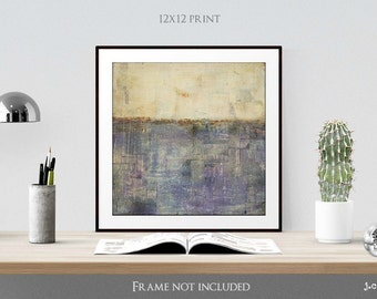"Art Print, 12x12"" Abstract Print, Mixed Media print, Contemporary Art Print, Vintage Inspired Print, (305mm), Purple, Orchid, ""Beneath"""