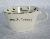 Vintage Mystic Fortune Teller Tea Cup w Instructions  / 1949 Halloween Fortune Telling Tasseomancy Teacup