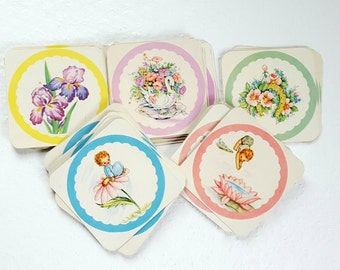 Kitsch Paper Beverage Drink Coaster Set of 15, Vintage Pixie and Floral Drink Coasters, Vintage Paper Coasters, Vintage Party Supplies