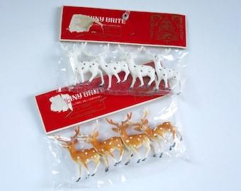 Shiny Brite Vintage Mini Plastic Reindeer, Kawaii Brown and White Dot Deer, Putz House Diorama Reindeer, Holiday Craft Supplies
