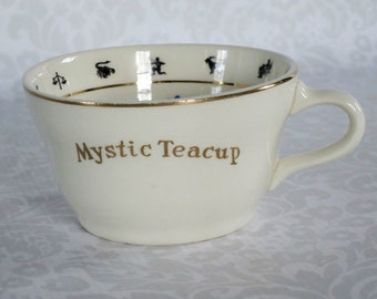 Vintage Mystic Fortune Teller Tea Cup w Instructions  / 1949 Halloween Fortune Telling Tasseomancy Teacup