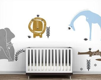 Royal Safari Wall Decal Mural by LittleLion Studio. Metallic colors. Sparkle Blue. Modern Baby Nursery Wall Decor