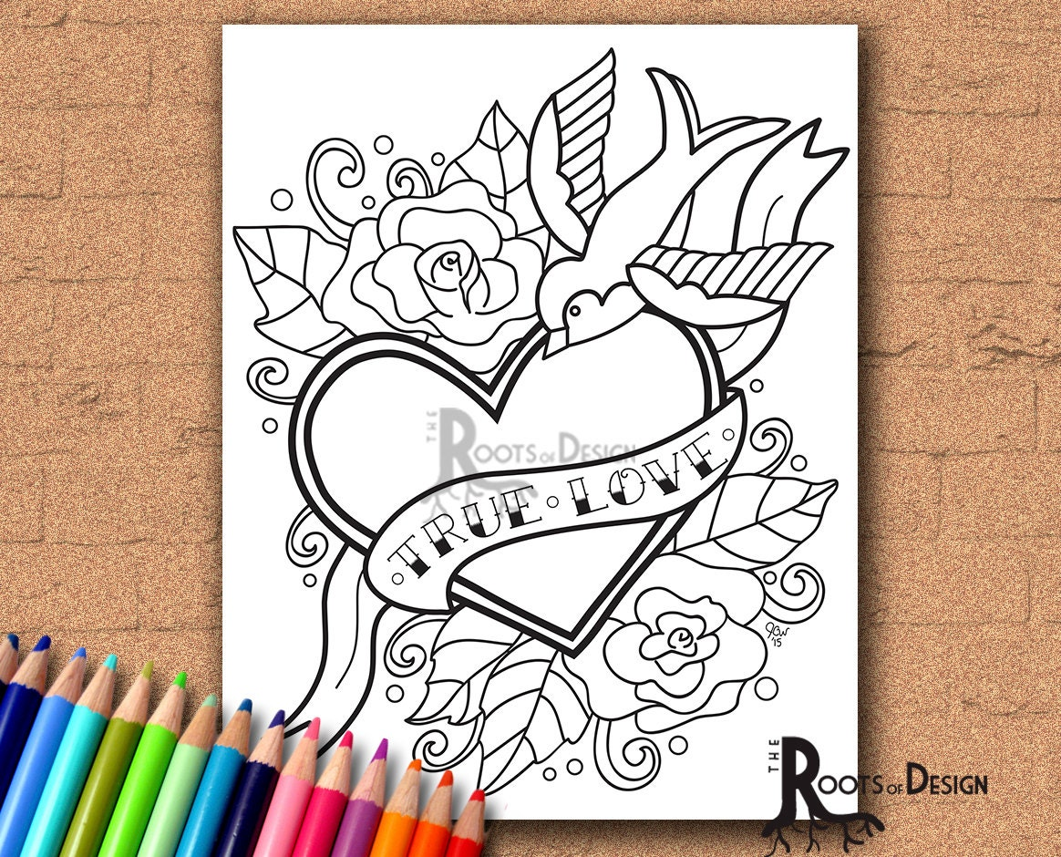 instant download coloring page tattoo style true love heart