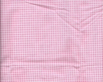 100% Cotton Pink and White Gingham Fabric