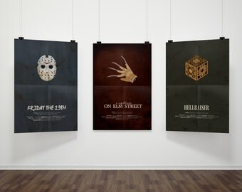 SAVE 5% - Classic Horror Triple Play // Friday the 13th, Nightmare on Elm Street, and Hellraiser Vintage-inspired Alternative Movie Posters