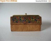 40% SALE Dynamite multicolour harlequin motif marbled sand vintage leather Amity kisslock wallet pocketbook