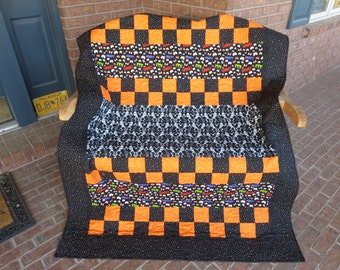 Homemade Halloween Quilt - Glow In The Dark Skeletons and Polka Dots