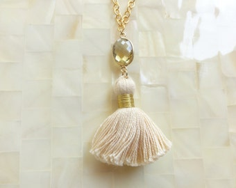 Faceted Lemon Quartz Vermeil Bezel Connector and Taupe Cotton Tassel on Gold Chain Necklace (N1714)
