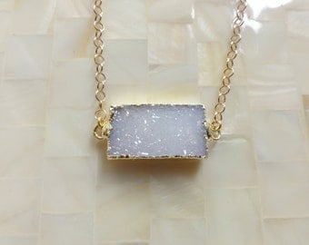 Sparkling Gold Edge White Druzy Drusy Rectangle Connector on Gold Chain Necklace (N1695)