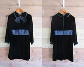 60s Velvet and Satin Black Timeless Dress Shannon Rodgers for Jerry Silverman Small