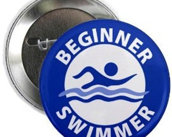 EGINNER SWIMMER Pool Safety Alert Pinback Button Badge (Choose Color and Size)
