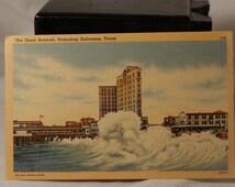 Linen postcard the great seawall protecting Galveston Texas.