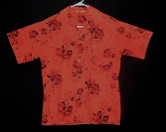 Exotic vintage 50s 60s cherry red black gold blossom flowers cotton Hawaiian men shirt Tiki atomic rockabilly MCM Alu Lole - Size M