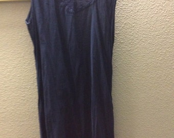Sale! Long Gauze dress, crochet top rayon/Med(may fit large) sleeveless made in India navy Blue