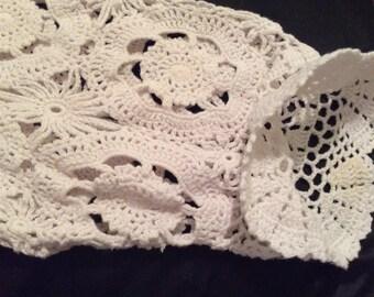 Cotton crochet top one X Venezia, crochet sleeves, white 100% cotton