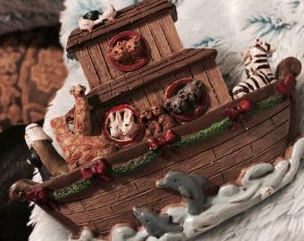 Noah's Ark Christmas ornament classy artistic huge divine wood hand painted seagulls  Dolphins bunnies/zebras/koalas giraffes elephants