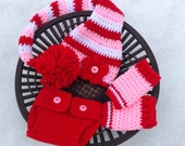 Baby Set - Red/Pink/White stocking Hat, Valentine Stocking Hat, Diaper Cover and Leggings with button on flower (0-3 months)