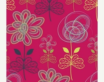 ON SALE - Drawn Art in Cherry (MO-4803) - Art Gallery Fabric - Modernology by Patricia Bravo - By the Yard