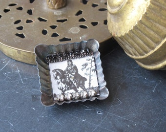 Tin Brooch, Horse and Rider, Vintage Tin, Assemblage Jewelry