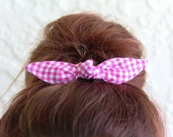 Hair Bow Knotted Bun Clip Hair Bows Hot Pink Gingham Girl Teen Women Hair Accessory French Barrette Alligator Clip Hair Ties