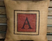 Burlap Personalized Initial Pillow in Rustic Red/Alphabet Jute Pillow Cover/Cottage Decor by sweet janes plan