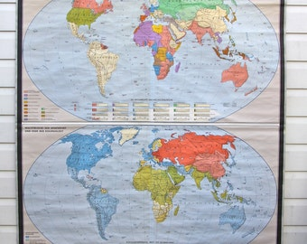 World map poster vintage etsy uk rare double world vintage school pulldown map print poster chart classroom old cloth canvas wall hanging gumiabroncs Images
