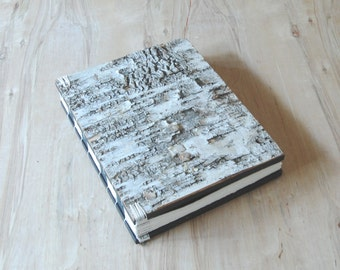 rustic wedding guest book or journal - birch bark cabin guest book -gold natural woodland  unique wedding anniversary gift ready to ship