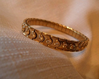 Vintage Gold Tone Stretch Bracelet with CZ's