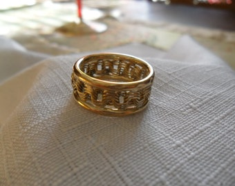 Vintage 10k Gold Band Lattice Style Ring Size 6