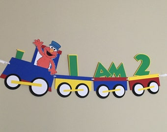 ELMO TRAIN Birthday Party Highchair Banner - 1st or 2nd