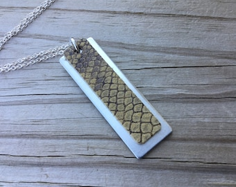 Brown Patterned Leather and Silver Necklace- Metal and Leather Necklace