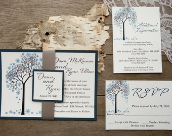 Winter Wedding Invitation, Rustic Wedding Invitation, Tree Wedding Invitations, Barn Wedding Invitation, Country Wedding Invitations